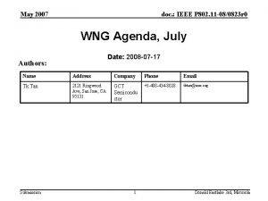 May 2007 doc IEEE P 802 11 080823