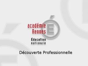 Dcouverte Professionnelle DECOUVERTE PROFESSIONNELLE Une option 3 h