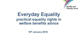 Everyday Equality practical equality rights in welfare benefits