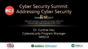Cyber Security Summit Addressing Cyber Security Risk October