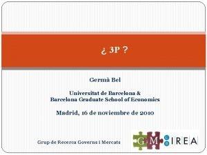 3 P Germ Bel Universitat de Barcelona Barcelona