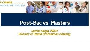 PostBac vs Masters Joanne Snapp MSED Director of