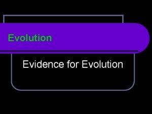 Evolution Evidence for Evolution Other Evidence for Evolution