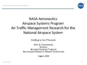 National Aeronautics and Space Administration NASA Aeronautics Airspace
