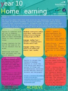 year 10 Home Learning WC 23032020 Week 2