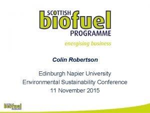 Colin Robertson Edinburgh Napier University Environmental Sustainability Conference