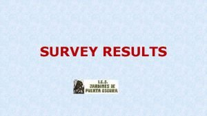 SURVEY RESULTS This survey has been carried out