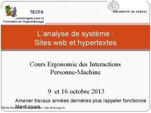TECFA Technologies pour la Formation et lApprentissage Lanalyse