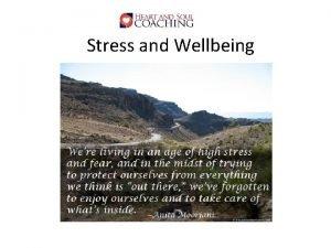 Stress and Wellbeing Stress and Wellbeing Effects Productivity