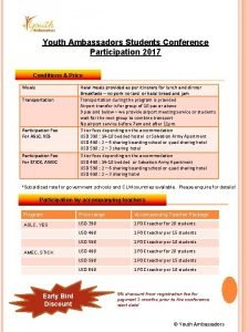 Youth Ambassadors Students Conference Participation 2017 Conditions Price