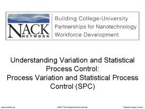 Understanding Variation and Statistical Process Control Process Variation