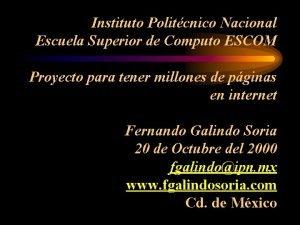 Instituto Politcnico Nacional Escuela Superior de Computo ESCOM