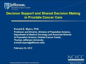 Decision Support and Shared Decision Making in Prostate