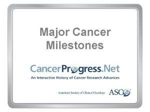 Major Cancer Milestones Major Cancer Milestones 1970 1979