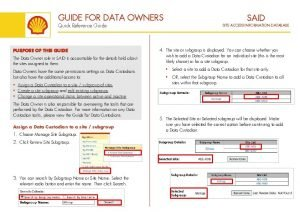 GUIDE FOR DATA OWNERS Quick Reference Guide PURPOSE