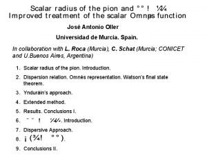 Jos Antonio Oller Universidad de Murcia Spain In