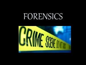 FORENSICS Name these popular forensic investigators FORENSICS Means