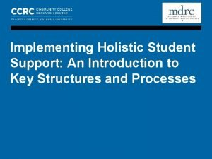 COMMUNITY COLLEGE RESEARCH CENTER MDRC IMPLEMENTING HOLISTIC STUDENT