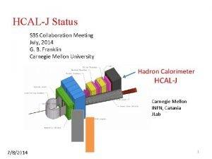 HCALJ Status SBS Collaboration Meeting July 2014 G