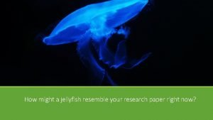 How might a jellyfish resemble your research paper