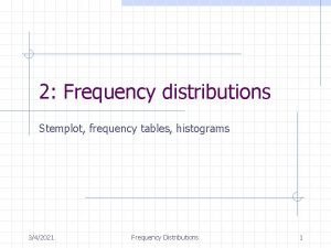 2 Frequency distributions Stemplot frequency tables histograms 342021