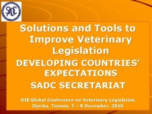 Solutions and Tools to Improve Veterinary Legislation DEVELOPING