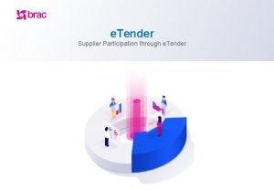 e Tender Supplier Participation through e Tender e