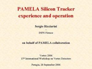 PAMELA Silicon Tracker experience and operation Sergio Ricciarini