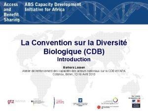 La Convention sur la Diversit Biologique CDB Introduction