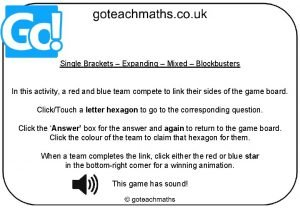 Single Brackets Expanding Mixed Blockbusters In this activity