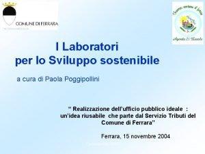I Laboratori per lo Sviluppo sostenibile a cura