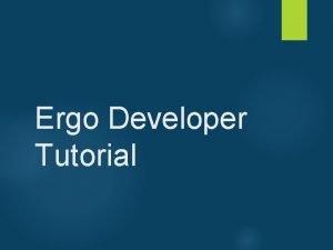 Ergo Developer Tutorial Eclipse RCP installation Eclipse RCP