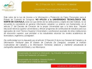 Art 21 Fraccin XLIX Informacin Catastral Universidad Tecnolgica