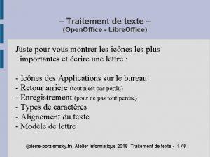 Traitement de texte Open Office Libre Office Juste