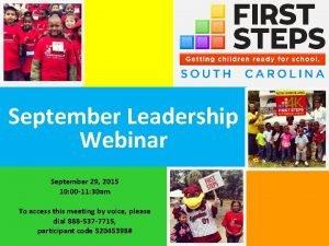 September Leadership Webinar September 29 2015 10 00