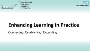 Enhancing Learning in Practice Connecting Establishing Expanding Connecting