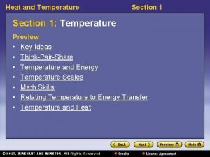 Heat and Temperature Section 1 Temperature Preview Key