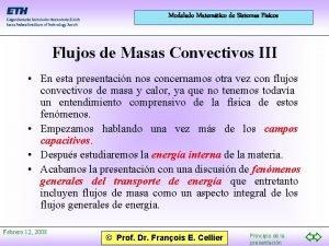 Modelado Matemtico de Sistemas Fsicos Flujos de Masas