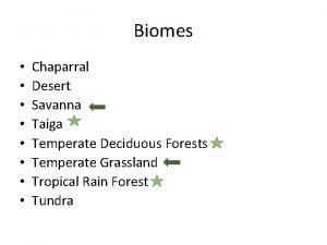 Biomes Chaparral Desert Savanna Taiga Temperate Deciduous Forests