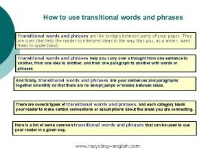 How to use transitional words and phrases Transitional