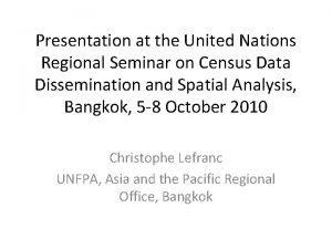 Presentation at the United Nations Regional Seminar on