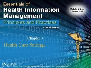 Chapter 3 Health Care Settings Copyright 2011 Delmar