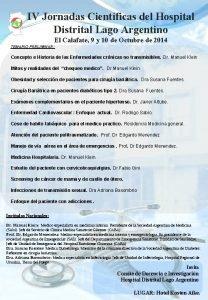 IV Jornadas Cientficas del Hospital Distrital Lago Argentino