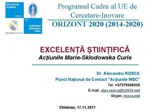 Programul Cadru al UE de CercetareInovare ORIZONT 2020
