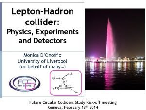 LeptonHadron collider Physics Experiments and Detectors Monica DOnofrio