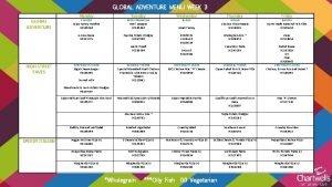 GLOBAL ADVENTURE MENU WEEK 3 GLOBAL ADVENTURE Monday