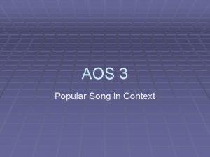 AOS 3 Popular Song in Context The Blues