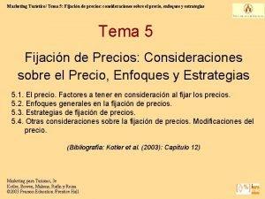 Marketing Turstico Tema 5 Fijacin de precios consideraciones