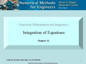 Numerical Differentiation and Integration Integration of Equations Chapter