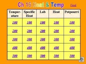 Final Temper Specific ature Heat Lab Heat Potpourri